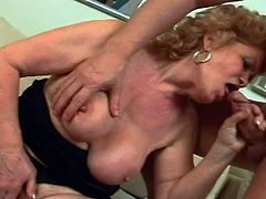 Renata is way past her sexual prime, but she sure doesn't act like it. The old slut spreads her legs wide and pleasures herself, until her new lover joins her with a rock-hard cock, to suck on and play with.