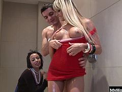 Nataly Dangelo and Romana Ryder are big boobed babes that love getting together and sucking the dick of their friend Earnest. Hes got a big had cock they love to squat down and stretch their pussies over before he busts right into their mouths.