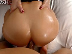 Oiled up POV foursome with ladies in sexy blouses