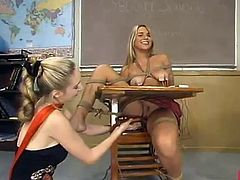 Awesome Blonde gal has bound Up And Toyed inside the Classroom