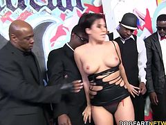 It was time for London to go down the line and warm up all our black cocks with the help of her welcoming mouth. We were gonna punish her mouth and make her eyes tear up from sucking all our big black dicks.
