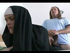 Nun giving a Nylon Footjob