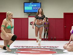 Today, we present you four wild cats here, on Ultimate Surrender. Busty blonde Angel Allwood, and ebony babe Nikki Darling, will fight vs Ana Foxxx, and experienced Mona Wales. Angel looks stronger than her opponents, so let's see, who will win the fight and who will fuck the losers. Enjoy the view!