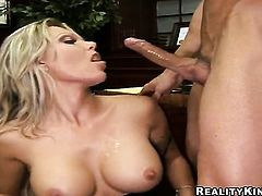 Blonde with juicy breasts and trimmed pussy sucks like a first rate hoe in steamy oral action with h