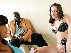 Lisa Ann lets man put his cock in her pussy in steamy interracial action