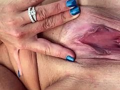 Katherine at the beach showing off her big pussy