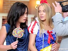 "Angella Christin and Niki Sweet get sticky in Private Gold ""Trick or Treat"". These babes open their throats and get a taste of cock. These Czech sluts give a shared blowjob and then Angella Christin bends over to have her teen pussy trashed from behind.."