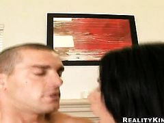 Mature chica Cassandra Cruz with phat booty and trimmed pussy does striptease before she sticks her fingers in her honeypot