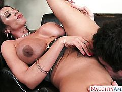 Brunette chicana Preston Parker does dirty things and then gets her pretty face cum sprayed