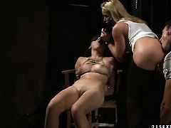 Blonde vixen Kathia Nobili gets her mouth destroyed by guys worm