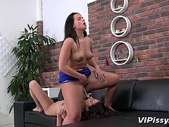 These horny brunette lesbians playing really naughty. First, Naty diligently fucking her tender lover with a purple dildo, then gives her some taste of her juicy pussy. But it wasn't enough, so they go further, filling the wineglasses with each other's piss and drinking this divine nectar. Have fun and relax!