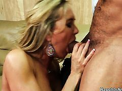 Blonde exotic Brandi Love is on the edge of nirvana with mans erect snake in hands