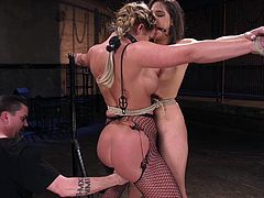 The executor has two ladies to dominate and control in, Phoenix and Abella. Eventually, Phoenix is suspended and hung in the air, while Abella is secured to the floor, with her legs spread very wide. Phoenix licks and kisses where she it told, then pulled up again.