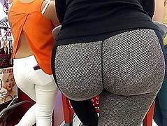 Latin Babe Mother I'd Like To Fuck Butt in Stripe Spandex