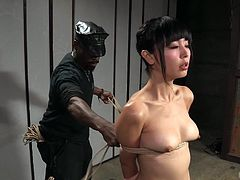 For her sassy behavior, her host brought this geisha to Jack Hammerx, in his basement. She needed to get some learning and punishment at the same time. In best Asian traditions black master tied Marica with the rope and suspended. You can be sure, she got the proper BDSM treatment. Relax and have fun!