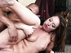 Brunette oriental Karlo Karrera gets impaled on snake by hot guy