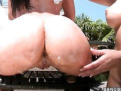 Brunette Rachel Starr with juicy booty gets her pretty face jizz covered after sex with hot dude