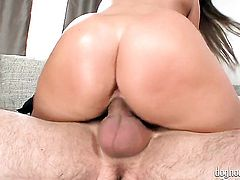 Debbie White has fire in her eyes while sucking mans hard pole