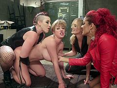 All the three mistresses were fed up with her lazy and uncooperative behavior, and decided to change her into a well mannered woman. They stripped Darling, whipped her ass and even fucked her with a dildo in a dungeon. They even made her to lick their feet and at last, they allowed her to...