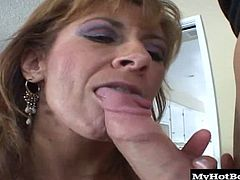 MILF Mikela Kennedy, is a dishwater blonde who has big tits that she grew herself, along with a pretty decent size booty that her boyfriend shows you, before stabbing his hard cock into her hairy snapper, allowing her to get an orgasm while riding on top. Next, she bends over, taking his hard rod from the rear for a dripping creampie.