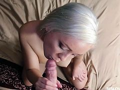 My cousin's girlfriend told me, how much she enjoy cock sucking. My boyfriend does not like oral sex, so my sex feelings are still unsatisfied. That is why I am sucking my cousin's cock. His dick is big enough for me so, I will kiss every inch, even balls. I will give handjob and eat cum. Wanna see me doing this?