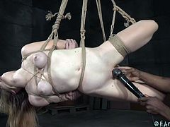 Redhead busty babe Ashley Lane, is brutally tied and suspended by severe black executer, Jack Hammerx. He placed a metal anal hook in his slave's ass and stimulates her clit with vibrator. Her titties are bound with rope and already swollen. Pathetic Ashley looks like a squashed frog. Enjoy fierce BDSM action!
