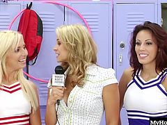 Jaelyn Fox has a bunch of cheerleading girlfriends that are all done with the practice for the day but still have a lot of tension to release. They strip down and get physical right there in the locker room, and no one is leaving until shes sucked and fucked the man thats made his way into the girls locker room