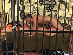 When hunks gets locked up, what are they to do? The only option is to have some hardcore sex. This muscular men enjoy some very erotic sex with each other and it is not to be missed. One hunk gets his ass eaten out.