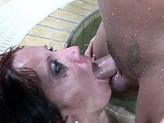 Hairy brunette milf wants nothing but a stiff cock hammering her butt