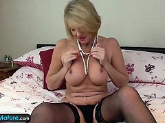 Agedlove Mature cougar Amy masturbating alone