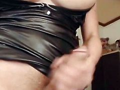 Tranny with Biggest Mangos Stripteases and Masturbates