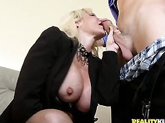 Blonde Dawson Daley polishes lucky dudes rock solid tool with her lips
