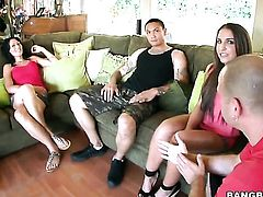 Brunette Giselle Leon gets the hole between her sexy legs interracially boned in front of the camera