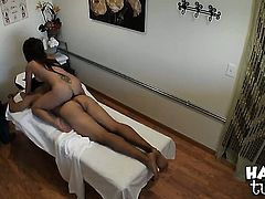 Brunette exotic with juicy boobs and trimmed snatch strokes tool harder and faster until guy cums