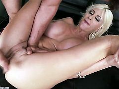 Blonde Puma Swede lets guy stick his beefy rod in her mouth