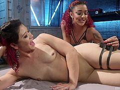 Jayogen is an obedient sex slave and she never says NO to her mistress's commands. Daisy Ducati wanted to dominate her slave, while fingering her and electro BDSM immediately flashed in her mind. She placed a vibrator on Jayogen's clit and attached electrodes to her thighs, to control her orgasm.
