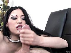 Domenic Kane is on the edge of nirvana with guys hard love stick in her mouth