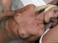 Blonde Kathia Nobili gets her mouth attacked by guys stiff love stick