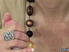 Adulterous british milf lady sonia exposes her large tits