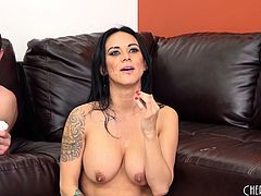 Stacked brunette nympho Nadia Styles gets pounded hard and facialized