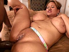 Fat whore opens her asshole for his gigantic ebony dick