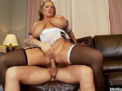 Laura Orsoia loves taking out her titties, because it always get her hot guys that can fuck her the way she wants. Tom is always after a horny lady with a huge rack waiting to bust out of her tight bra, and the french maid costume of Laura is really doing it for him. After whipping out his dick and fucking her before he even takes off his work clothes, he pulls out and releases his jizz onto her breasts.