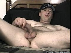 Straight boy Johnny is sprawled naked on my bed showing his butt to the camera. I scoot next to him and start to suck his dick. We switch off for a time and when Johnny starts moaning I squeeze out his big cum load on my tongue and face.