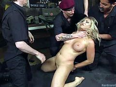After undressing a slutty blonde, these horny guys have their nasty manners with her, dominating her with their cocks. They gather around her, slap her big fascinating tits and stuff their dicks down her throat. Click to watch the hardcore scenes and enjoy!