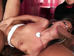 Cherry Jul with small tits and hairless bush keeps her mouth wide open while taking face cumshot