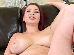 Leila Moon with gigantic melons and smooth cunt plays with toy