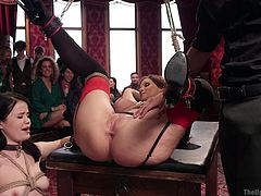 So much nuaghty fun takes place on the upper floor. These erotic sluts must do what their masters say. They are tied in rope bondage and made to perform sensual and alluring sexual acts. Watch as this cute Asian slut licks a mature hottie's asshole.