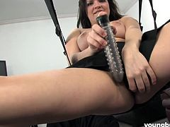 horny julie playing with dildo
