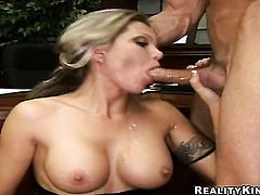 Blonde Reno with gigantic melons and hairless pussy gets the mouth fuck of her dreams with hard dick