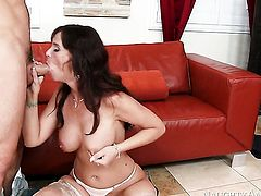 Mature Syren De Mer with massive hooters and hairless twat having sensual sex